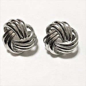 Vintage Silver Tone Knot Clip-On Earrings